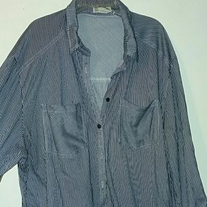 Navy blue and white striped button down  shirt